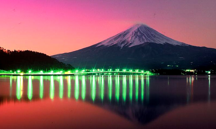 ≪Lake Kawaguchi Ohashi Bridge and Mount Fuji≫
